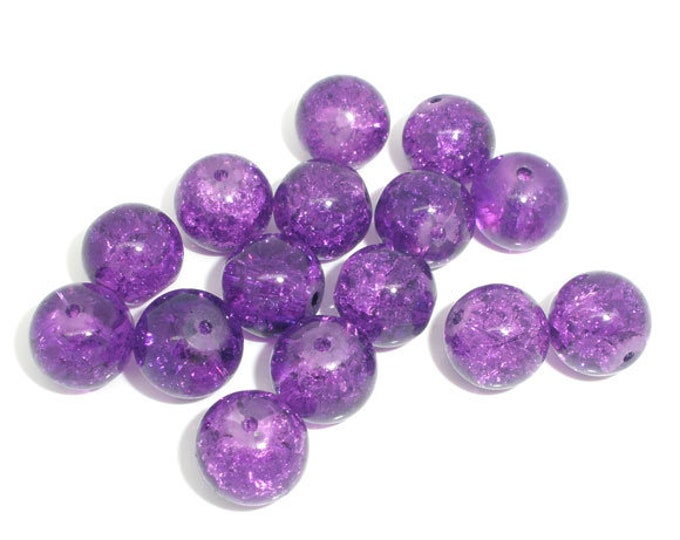 Bulk 40 Purple Crackle Glass Beads 10 mm Bracelet Beads Necklace Jewelry Bead Charms Craft Supplies