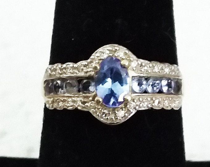 2/3 Ct Tanzanite & Diamond 10 Kt Solid Yellow Gold Ring Gemstone Cocktail Statement Ring Estate Jewelry Size 7