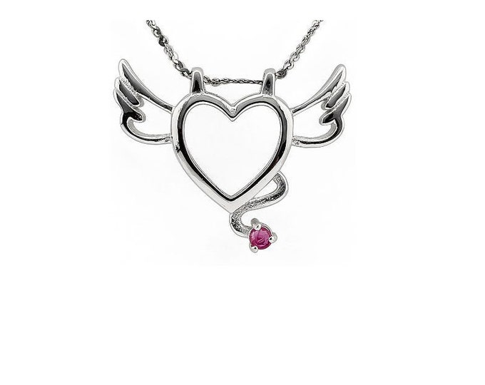 Beautiful Ruby Winged Heart Pendant Necklace 925 Sterling Silver Estate Jewelry