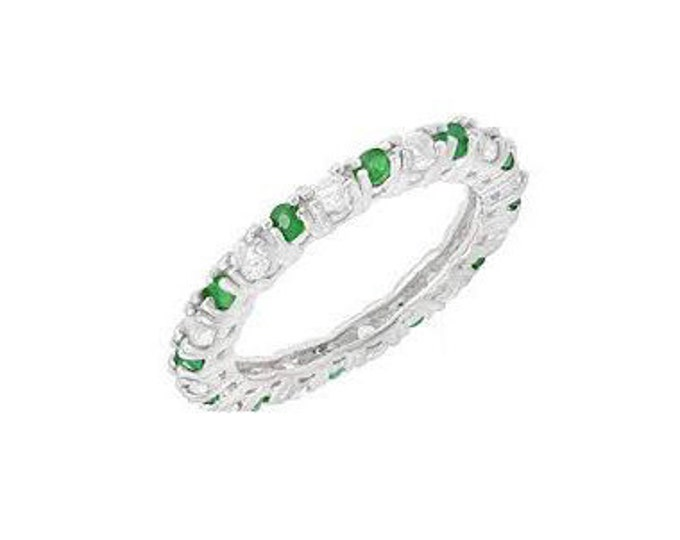 4/5 Ct Emerald and White Topaz Sterling Silver Ring 925 – Cocktail Ring – Statement Ring - Estate Jewelry Size 8
