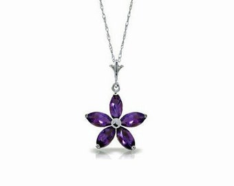 Beautiful 1.4 CT Purple Amethyst Flower Pendant on an 18 Inch 14 KT Solid White Gold Rope Chain Necklace Gemstone Estate Jewelry