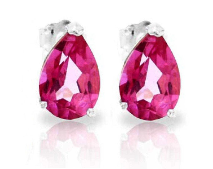 3.15 Ct Pink Topaz 14Kt Solid White Gold Stud Earrings Pear Cut – Gemstone Estate Jewelry