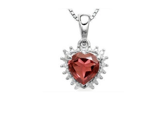 4/5 Ct Garnet and Diamond Heart Pendant 925 Sterling Silver Necklace Pendant (Necklace Chain is not Included)