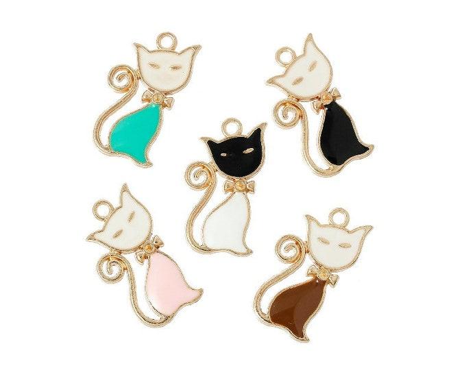 5 Enamel Cat Bracelet Charm Kitty Charms Necklace Pendant Progress Keeper Crochet Stitch Marker Jewelry Craft Zipper Pulls Earrings Earring