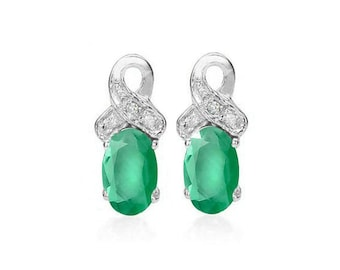 4/5 Ct Genuine Emerald and Diamond Earrings 925 Sterling Silver Emeralds & Diamonds Stud Earring TG-EmDi01-925