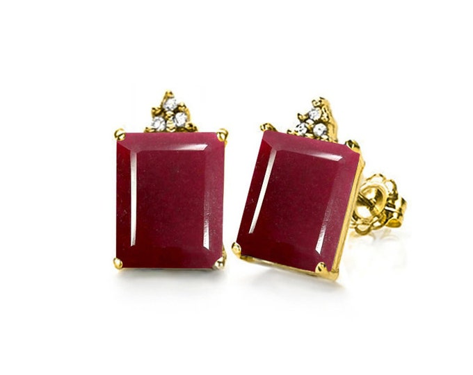 2.75 Ct Genuine Ruby and Diamond Earrings Solid White Gold Emerald Cut Rubies Stud Earring Gemstone Estate Jewelry Gift Women Birthday
