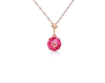 1.15 Ct Pink Topaz Pendant on an 18 Inch 14 KT Solid Rose Gold Rope Chain Necklace Gemstone Estate Jewelry