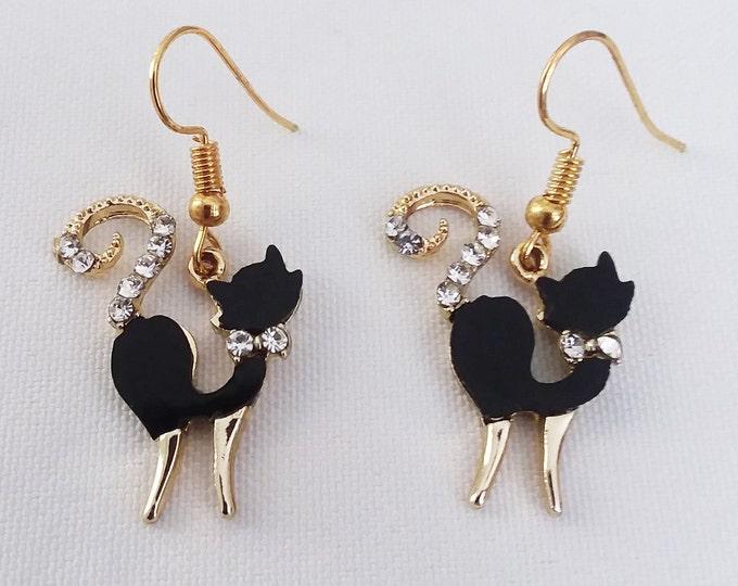 Black Cat Charm Earrings Rhinestones & Gold Plated Earring Halloween French Hook Style Ear Wire