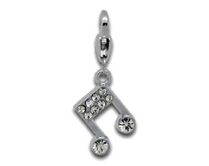 Musical Note Rhinestone Charm Silver Tone Bracelet Charms Necklace Pendant Jewelry Supplies Craft Projects Earrings Music Octave