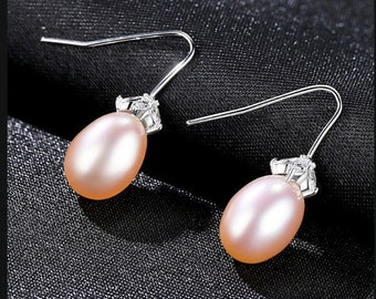Natural Freshwater Pink Pearl & Created Diamond Earrings Sterling Silver - 925 Gemstone Estate Jewelry Drop - Dangle Earring Wedding Bride