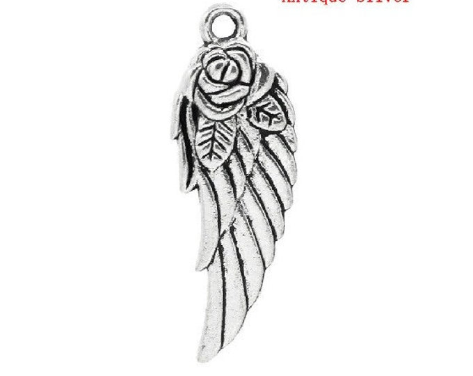 Bulk 10 Angel Wing Charms Antique Silver Angels Rose Wings Bracelet Charm Necklace Pendant Jewelry Supplies Charms Craft Projects Earrings