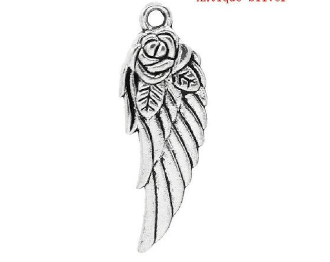2 Angel Wing Charms Antique Silver 2 Sided Angels Rose Wings Bracelet Charm Necklace Pendant Jewelry Supplies Charms Craft Projects Earrings