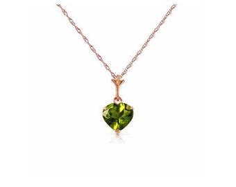 1.15 Ct Peridot Heart Solitaire Pendant on an 18 Inch 14 KT Solid Rose Gold Rope Chain Necklace Gemstone Estate Jewelry
