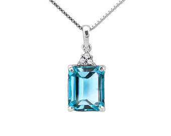 3.54 Carat Sky Blue Topaz and Diamond 10Kt Solid White Gold Necklace Pendant Jewelry (Necklace Chain not Included)