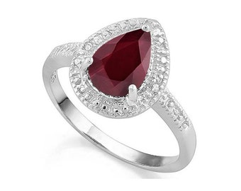 Ravishing 1 1/3 Ct Genuine Ruby & Diamond 925 Sterling Silver Ring Gemstone Estate Jewelry Rings Size 7