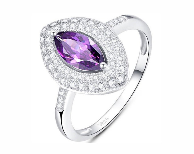 2/5 Ct Amethyst and Created White Sapphire Silver Ring 925 Floral Lavender Statement Cocktail Ring Estate Jewelry