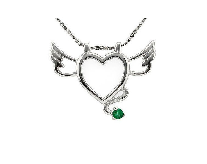 Beautiful Genuine Emerald Winged Heart Pendant Necklace 925 Sterling Silver Estate Jewelry