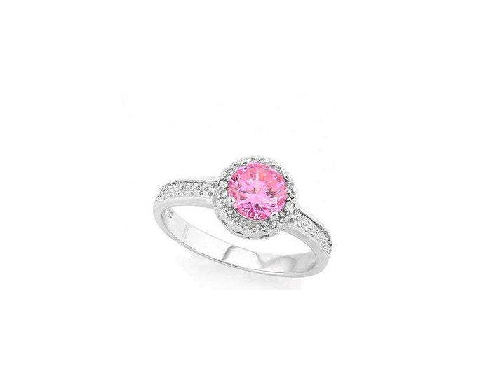 1 Ct Created Pink Sapphire & Diamond Sterling Silver Ring - 925 Engagement Ring – Cocktail Ring – Statement Ring - Estate Jewelry Size 7