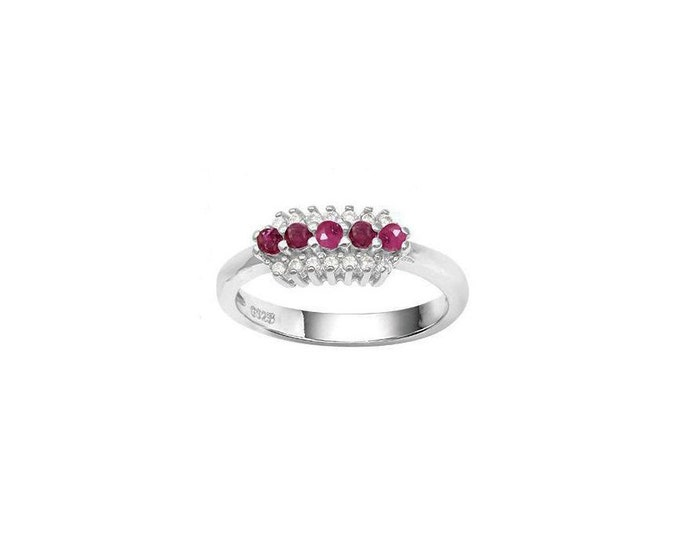 3/4 Carat Ruby and Created White Sapphire Sterling Silver Ring 925 – Cocktail Ring – Statement Ring - Estate Jewelry Size 7