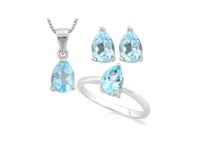 2.52 Carat Baby Swiss Blue Topaz Pendant Necklace, Ring and Earring Sterling Silver Set 925 Gemstone Estate Jewelry Gift Women Size 7 US