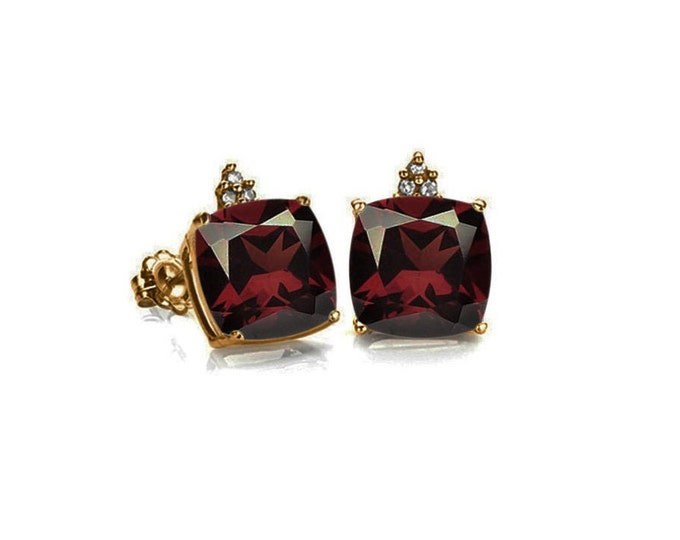 1.3 Ct Garnet & Diamond 10 Kt Solid Yellow Gold Earrings Persian Red Cushion Cut Estate Jewelry Stud Earring