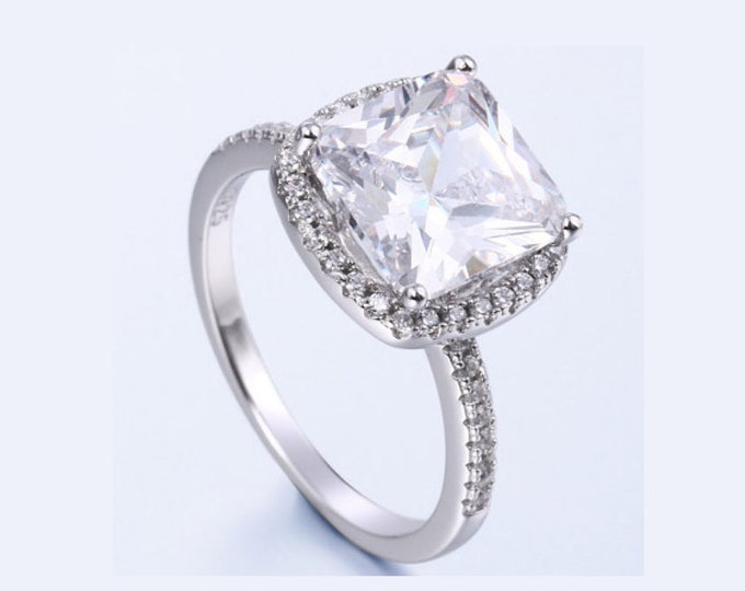 2.5 Ct Created Diamond Engagement Ring Cubic Zirconia CZ Sterling Silver 925 Gemstone Engagement Statement Halo Ring Estate Jewelry Size 7
