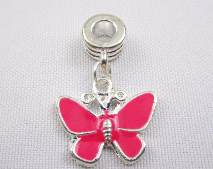 Dark Pink Enamel Butterfly Charm European Style Large Hole Dangle Beads Silver Plated Bracelet Necklace Jewelry Bead Charms Craft Supplies