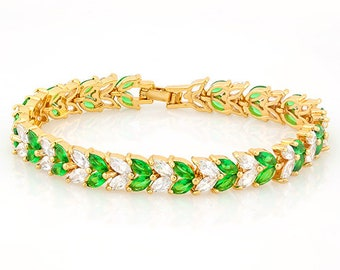 16 Ct Created Emerald and 10 Ct Created White Topaz 18 Kt Gold Plated German Silver Bracelet Gemstone Estate Statement Jewelry Gift Women