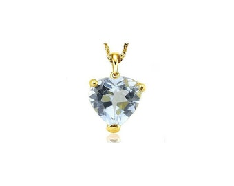 1/2 Carat Aquamarine Heart Cut 10Kt Solid Yellow Gold Necklace Pendant Jewelry (Necklace Chain not Included)