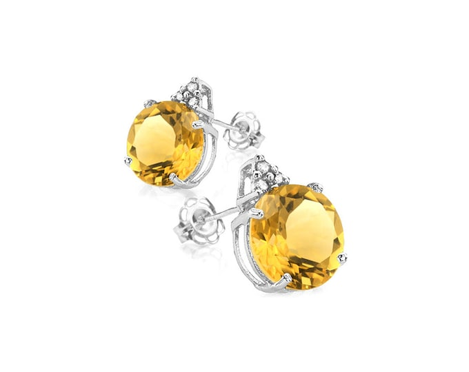 2 Ct Citrine and Diamond 10K Solid White Gold Stud Earrings Round Cut – Gemstone Estate Jewelry