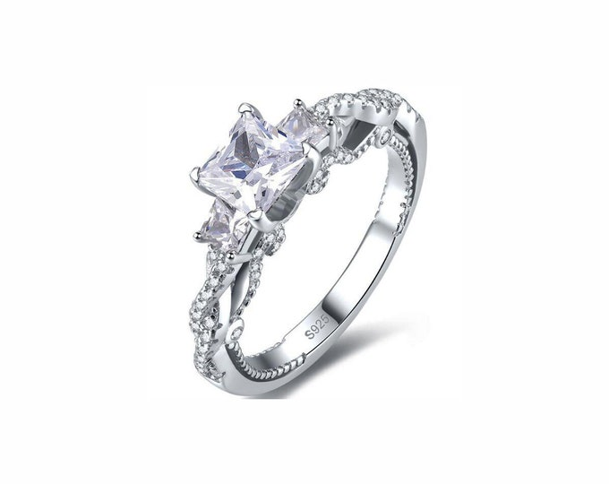 1.9 Ct Cubic Zirconia CZ Engagement Ring Sterling Silver 925 Gemstone Engagement Statement Ring Estate Jewelry Size 7