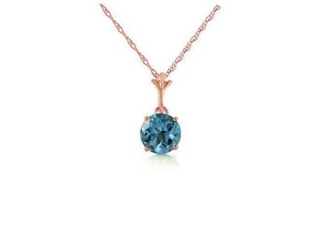 1.15 Ct Blue Topaz Pendant on a 14K Solid Rose Gold 18 inch Rope Chain Necklace Gemstone Estate Jewelry