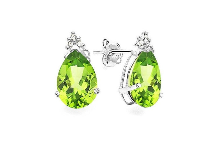 1.9 Ct Peridot and Diamond 10K Solid White Gold Stud Earrings Lime Green Pear Cut Earring – Gemstone Estate Jewelry