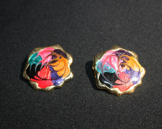Vintage Multi Color Enamel Earrings Post Back Costume Jewelry Gold Tone Earring