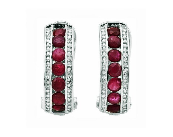 Genuine Ruby & Diamond Earrings Platinum Over 925 Sterling Silver French Back Earring - 2.25 Carats TW - TG-RBDI-P925