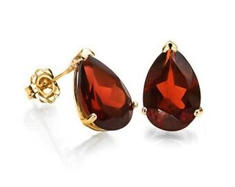 1 Ct Garnet 14 Kt Yellow Gold Earrings Persian Red Estate Jewelry Stud Earring