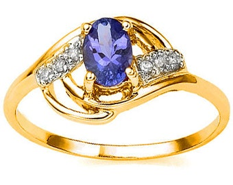 1/2 Ct Tanzanite & Diamond 10 Kt Solid Yellow Gold Ring Estate Jewelry Statement Cocktail Engagement Band Ring Size 7