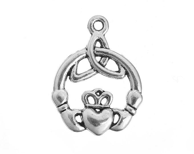 Bulk 10 Irish Claddagh Heart Charms Antique Silver Celtic Knot Heart Bracelet Charm Necklace Pendant Jewelry Supplies Craft Project Earrings
