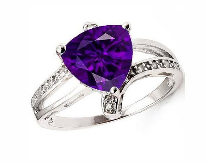 1.4 Ct Trillion Cut Lavender Amethyst and Cubic Zirconia Platinum Over Sterling Silver Ring, 925 Gemstone Estate Jewelry, TG-AmyCZ01-925