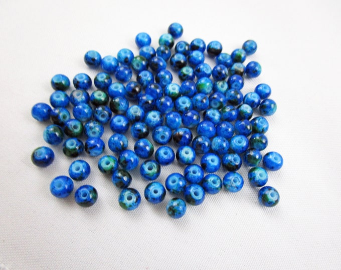 100 Blue Glass Loose Beads Round 6 mm Bracelet Beads Necklace Jewelry Bead Charms Craft Supplies