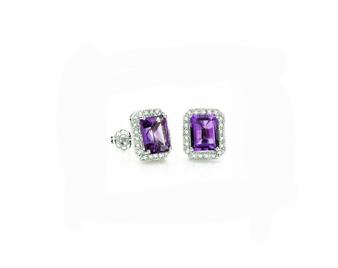 3 Carat Purple Amethyst Earrings Sterling Silver 925 Gemstone Estate Jewelry Earring