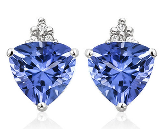 2.26 Ct Lab Tanzanite & Diamond Earrings 10K Solid White Gold Gemstone Trillion Cut Earring Estate Jewelry Gift Women Birthday