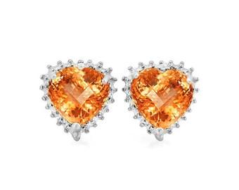 3 1/5 Ct Heart Cut Azotic Topaz Earrings 925 Sterling Silver Gemstone Stud Earrings – TG-ATG02-925
