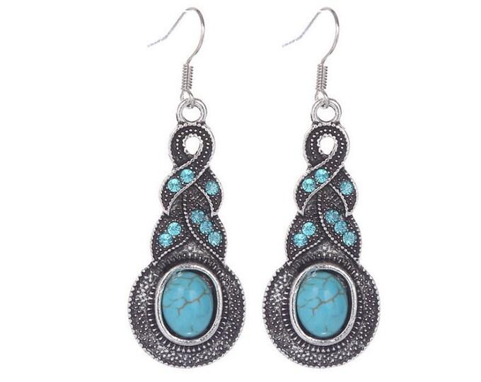 Turquoise Crystal Dangle Earrings Boho Jewellery Fashion Jewelry Drop Earring Gemstone Jewelry, December Birthstone French Hooks