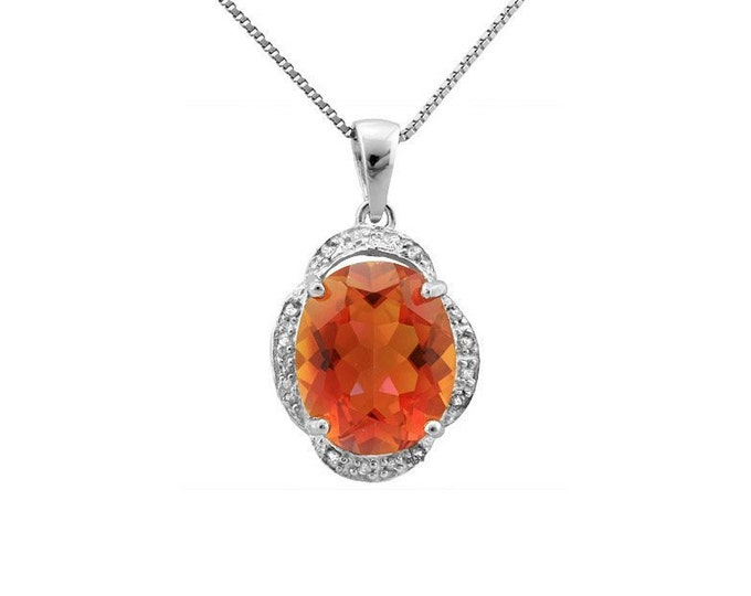 3.57 Ct Azotic Topaz Gemstone & Diamond 925 Sterling Silver Pendant on an 18 Inch Sterling Silver Box Chain – 925 Necklace Estate Jewelry