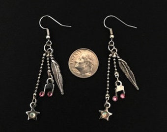 Rock Star Dangle / Drop Earrings Feather Star Musical Note Crystal Charm Ear Wire Earrings Charm Jewelry Earring Hand Made