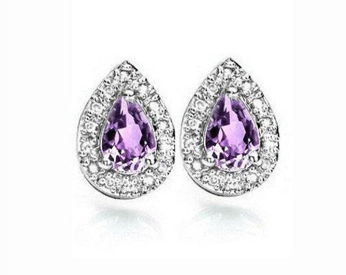 3/4 Carat Pear Cut Amethyst Earrings Sterling Silver, 925 Gemstone Estate Jewelry Earring TG-Amethyst07-925