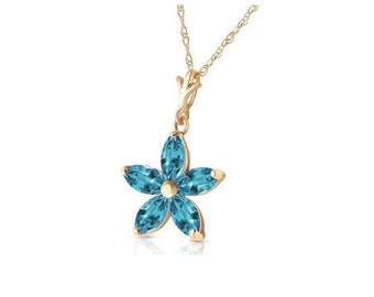 1.4 CT Blue Topaz Flower Pendant on a 14Kt Solid Yellow Gold Rope Chain Necklace Gemstone Estate Jewelry