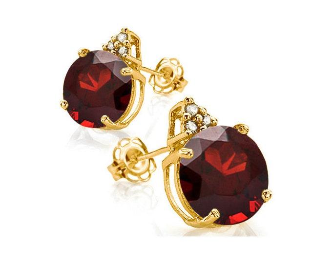 4.77 Ct Persian Red Garnet & Diamond 10 Kt Solid Yellow Gold Earrings Estate Jewelry Stud Earring
