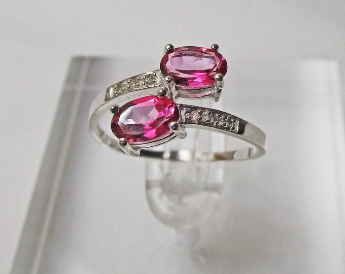 1 Ct Imperial Pink Topaz and Diamond 10Kt Solid White Gold Ring By Pass Ring Gemstone Statement Cocktail Ring Estate Jewelry Size 7